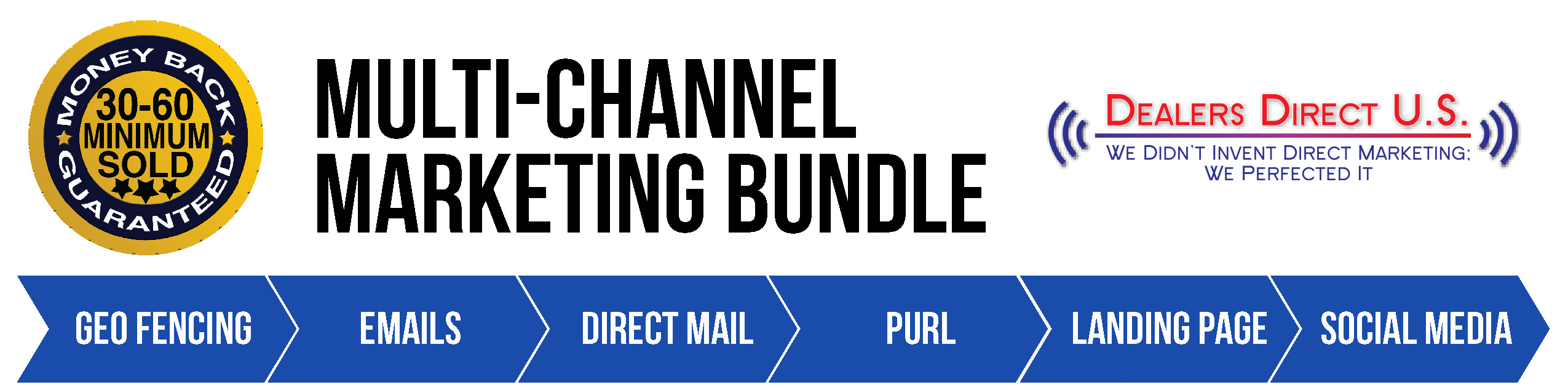 Multi-Channel Marketing Bundle. 30-60 minimum sold guaranteeed. Geo fencing emails direct mail PURL landing page social media