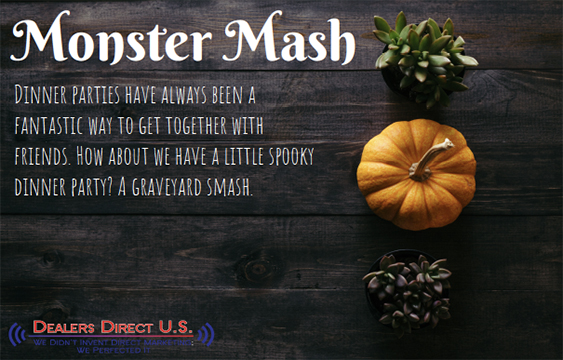 Monster Mash Dinner parties have always been a fantastic way to get together with friends. How about we have a little spooky dinner party? A graveyard smash.